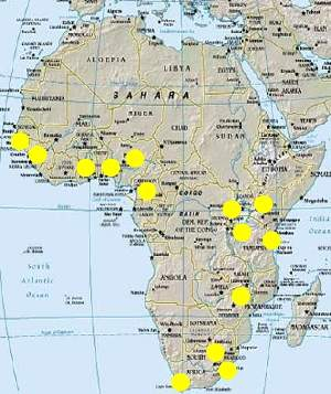 Participating African centres in the APCDR - 14 sub-Saharan Africa groups scanning 10 sub-Saharan Africa countries