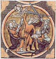 Image claimed to be Jews, identifiable by their hats, being killed by Crusaders, from a 1250 French Bible.