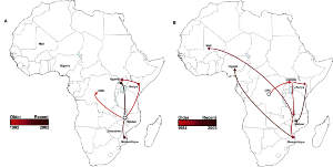 Geospatial transmission of invasive Salmonella Typhimurium isolates in sub-Saharan Africa. (a,b) Phylogeographic diffusion of lineages I (a) and II (b) across sub-Saharan Africa over time based on a discrete geospatial model with associated geographic coordinates.