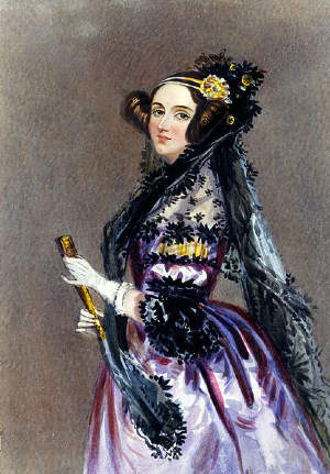 Watercolor portrait of Ada King, Countess of Lovelace (Ada Lovelace) by Alfred Edward Chalon