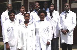Dr Sam Kariuki (far right) with his team of researchers at the Keyna Medical Research Institute.