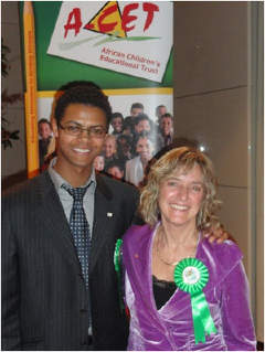 Sammy Assefa with Dame Claire Bertschinger. Sammy is a Trustee for A-CET and has an active role in providing IT support, fundraising and student counselling.