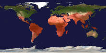 Map showing distribution of malaria around the world.
