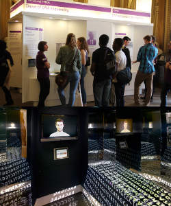 Top: Visitors to the exhibition talk with Sanger Institute scientists. Bottom: The central ethics section of Beyond the Genome