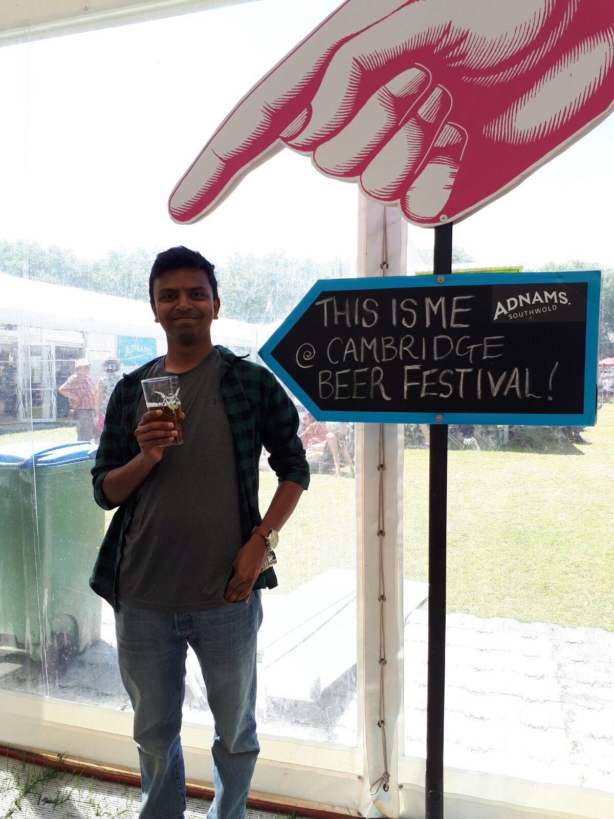 Aravind at the beer festival.