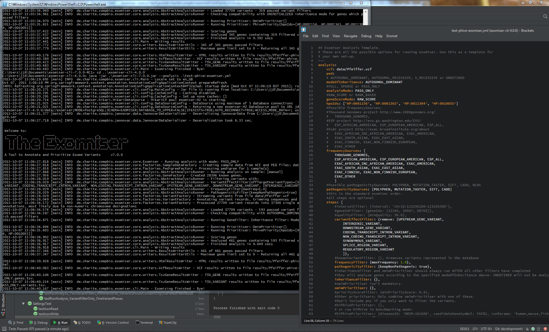 Screenshot of the Exomiser running on a test dataset from the command-line along with the accompanying YAML configuration file used for the analysis.