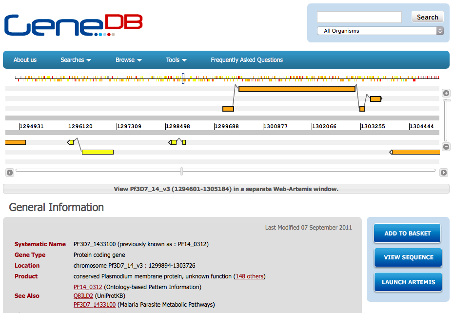 GeneDB Gene Page