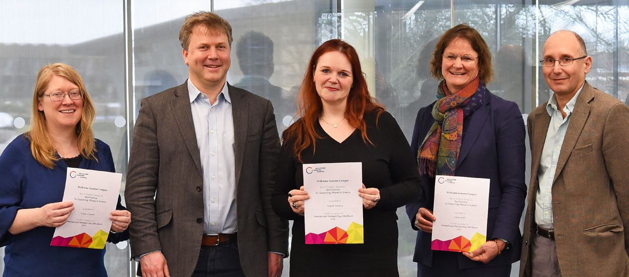Winners of the 2018 Sex in Science Best Practice Awards on the Wellcome Genome Campus and Directors. Image Credit: Genome Research Limited