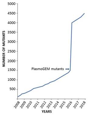 Contribution of PlasmoGEM to the number of P. berghei mutants catalogued in the Rodent Malaria Genetic Modification Database (https://www.pberghei.eu/index.php)